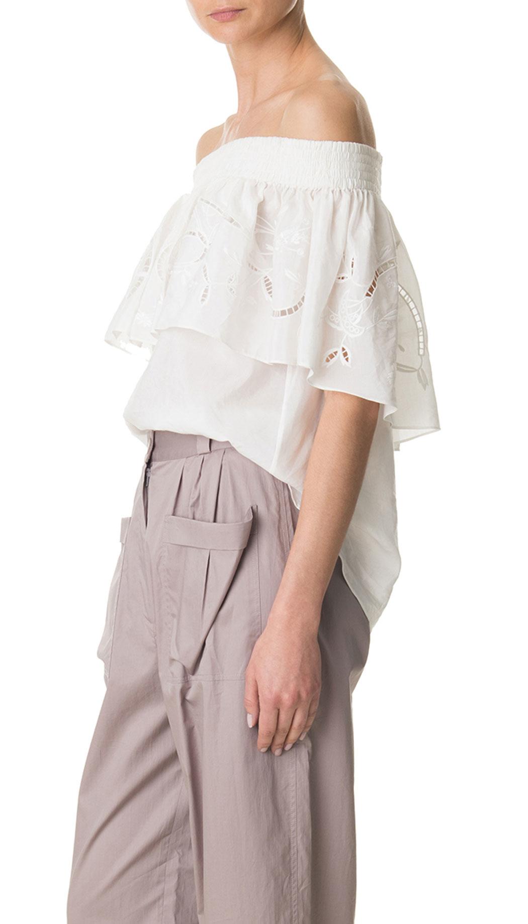 9d2ea7abc1c5e8 Tibi Carmen Embroidery Off-the-shoulder Ruffle Top in White - Lyst