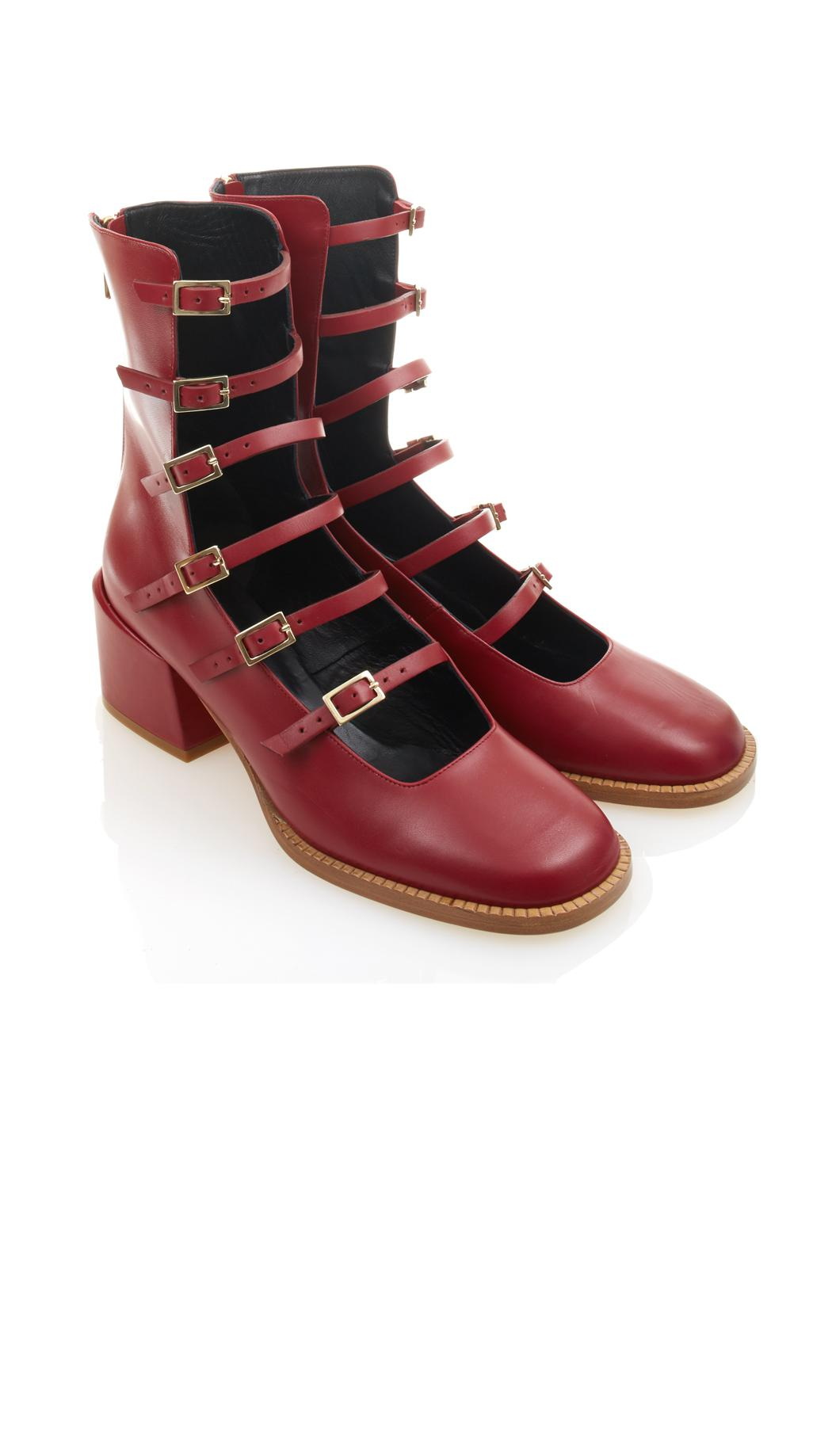 Tibi Leather Kai Buckle-up Boots in Red
