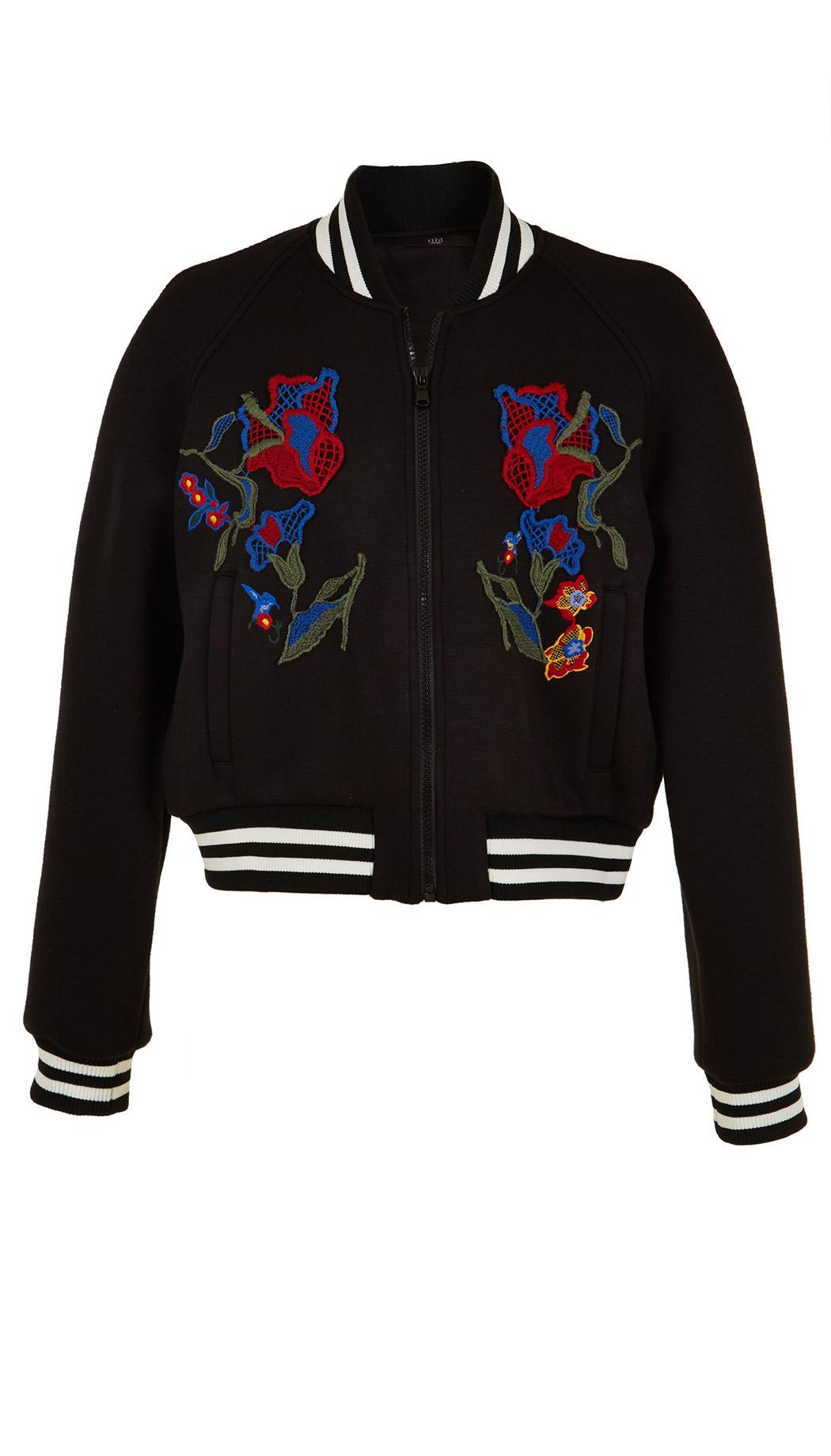 Tibi marisol embroidered bomber in black lyst