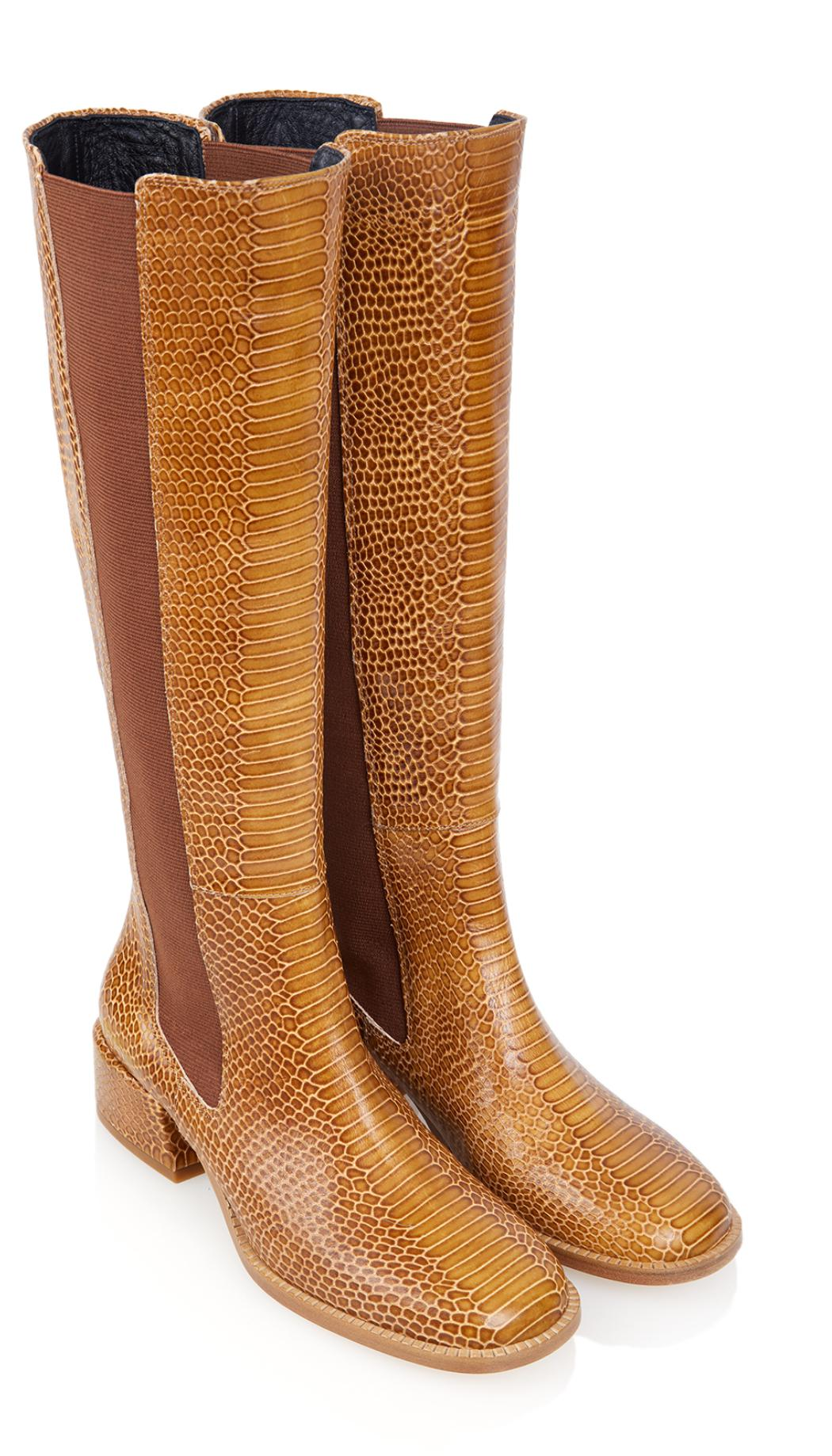 Tibi Leather Amelia Boots in Cognac (Brown)