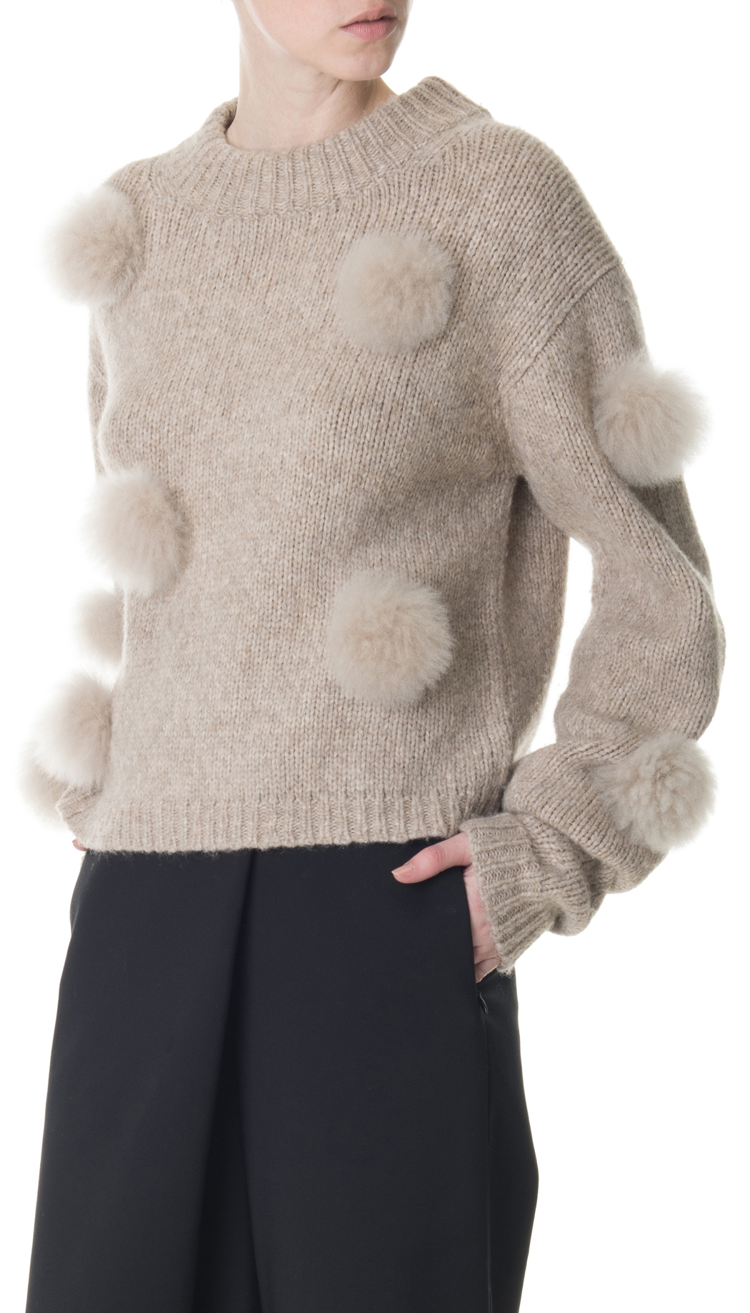 Lyst Tibi Alpaca Pompom Cropped Sweater