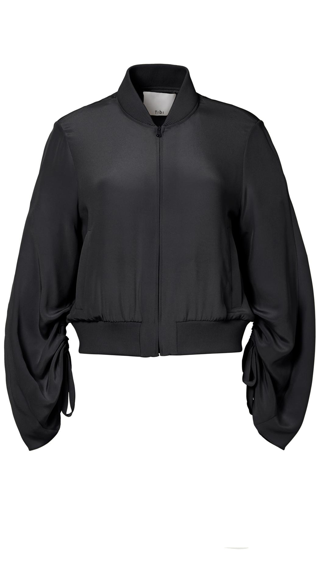 Tibi Silk Sculpted Bomber Jacket In Black Lyst