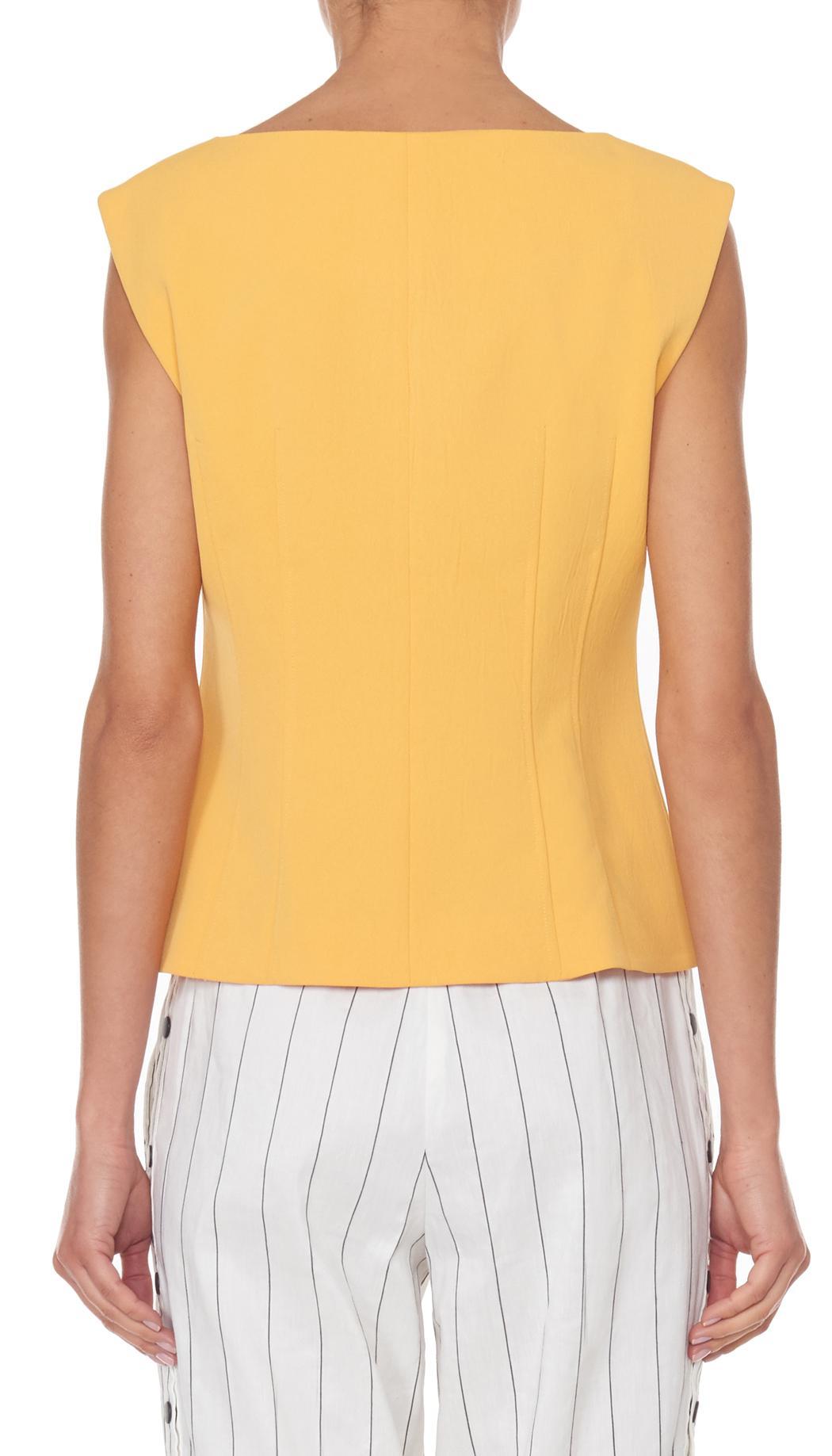 Tibi Synthetic Drape Twill Sleeveless Corset Top in Orange