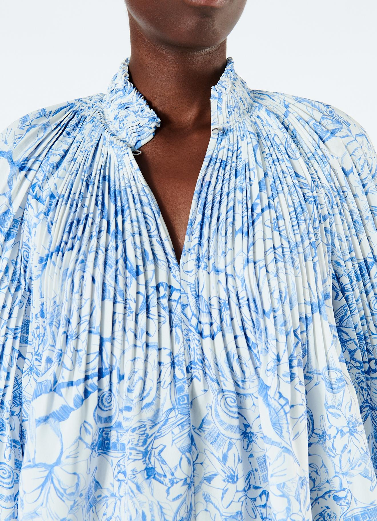 5006bcc23dae8d Tibi - Blue Isa Toile Cropped Edwardian Top - Lyst. View fullscreen