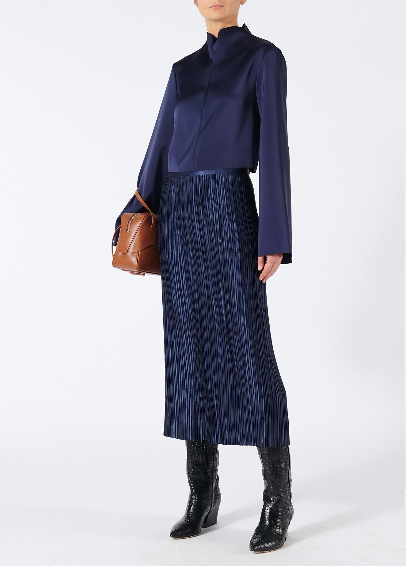 e33c47406c Tibi Plisse Skirt in Blue - Lyst