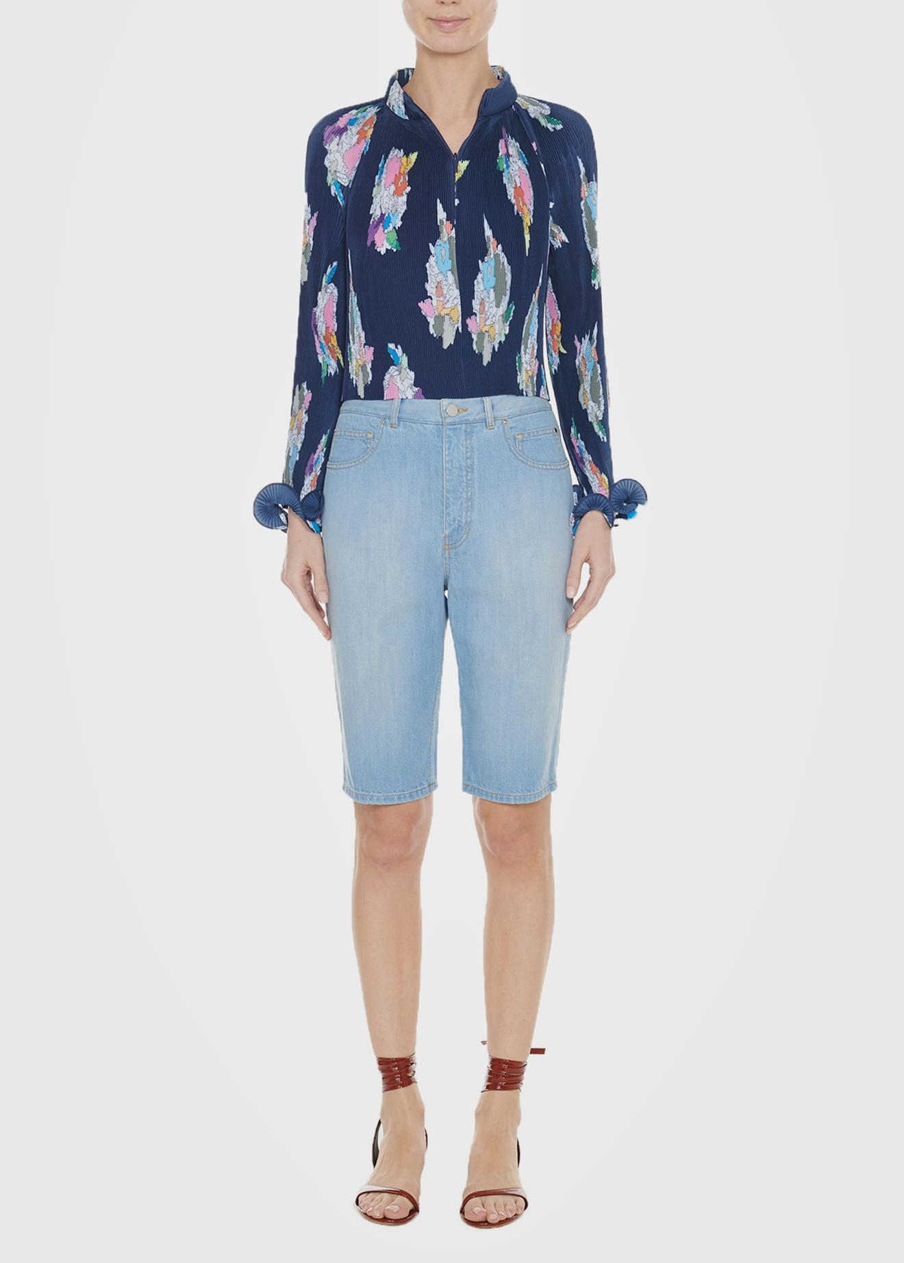 3dcb3e7b084af8 Lyst - Tibi Pleated Camellia Cropped Top in Blue