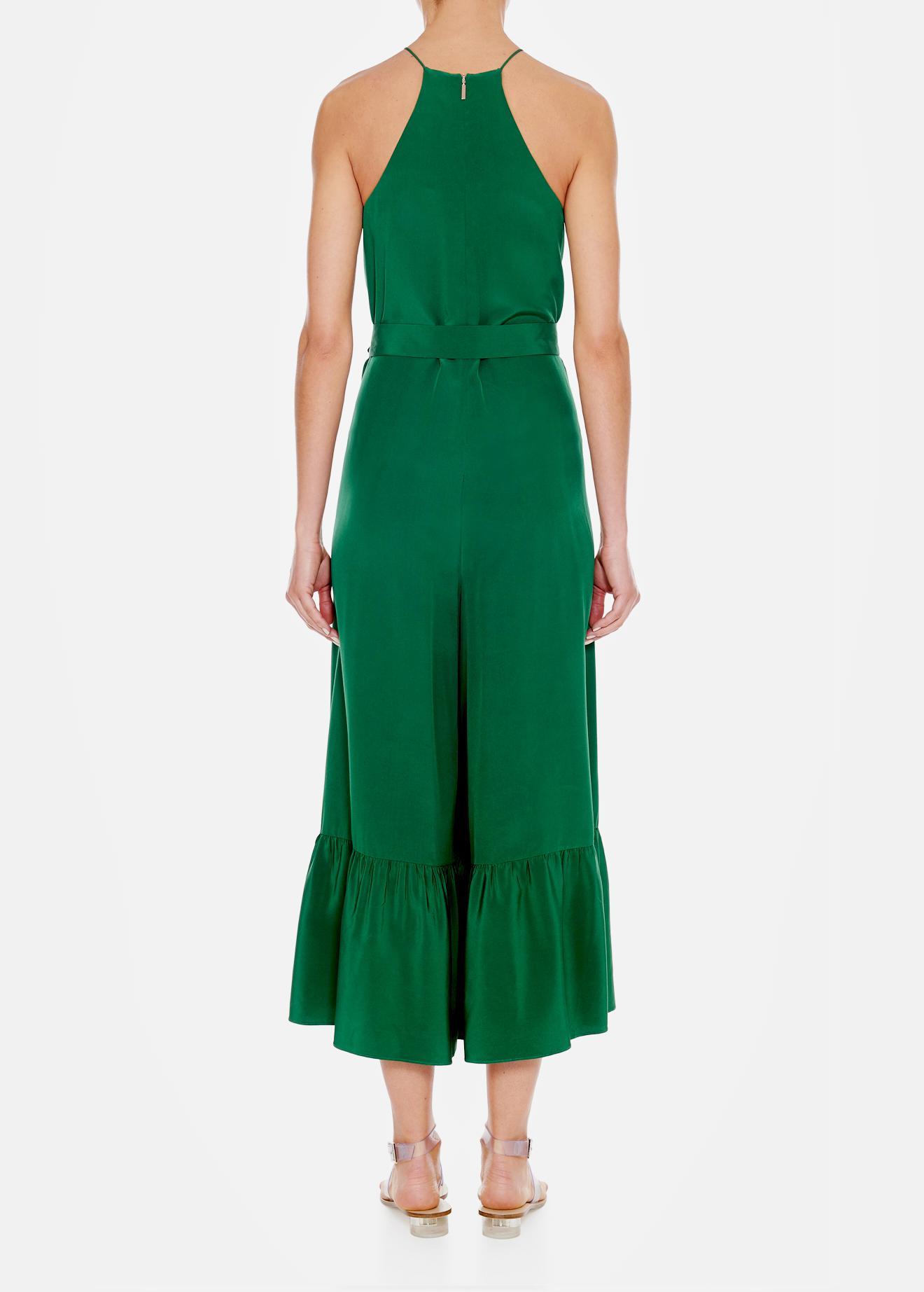 4bf34cd808b Lyst - Tibi Silk Halter Ruffle Jumpsuit in Green