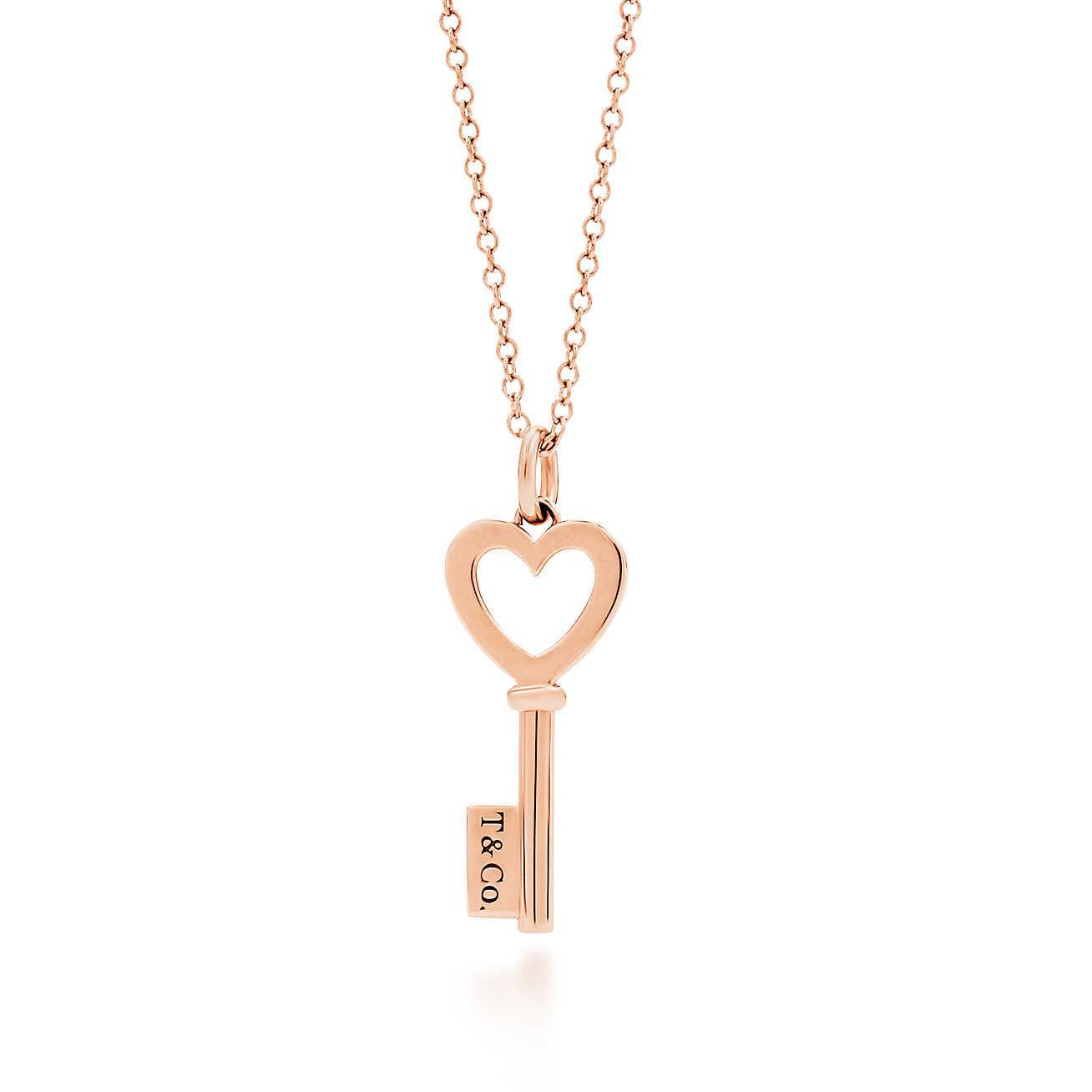 ae82576e94a05 Women's Metallic Heart Key Pendant In 18k Rose Gold, Mini