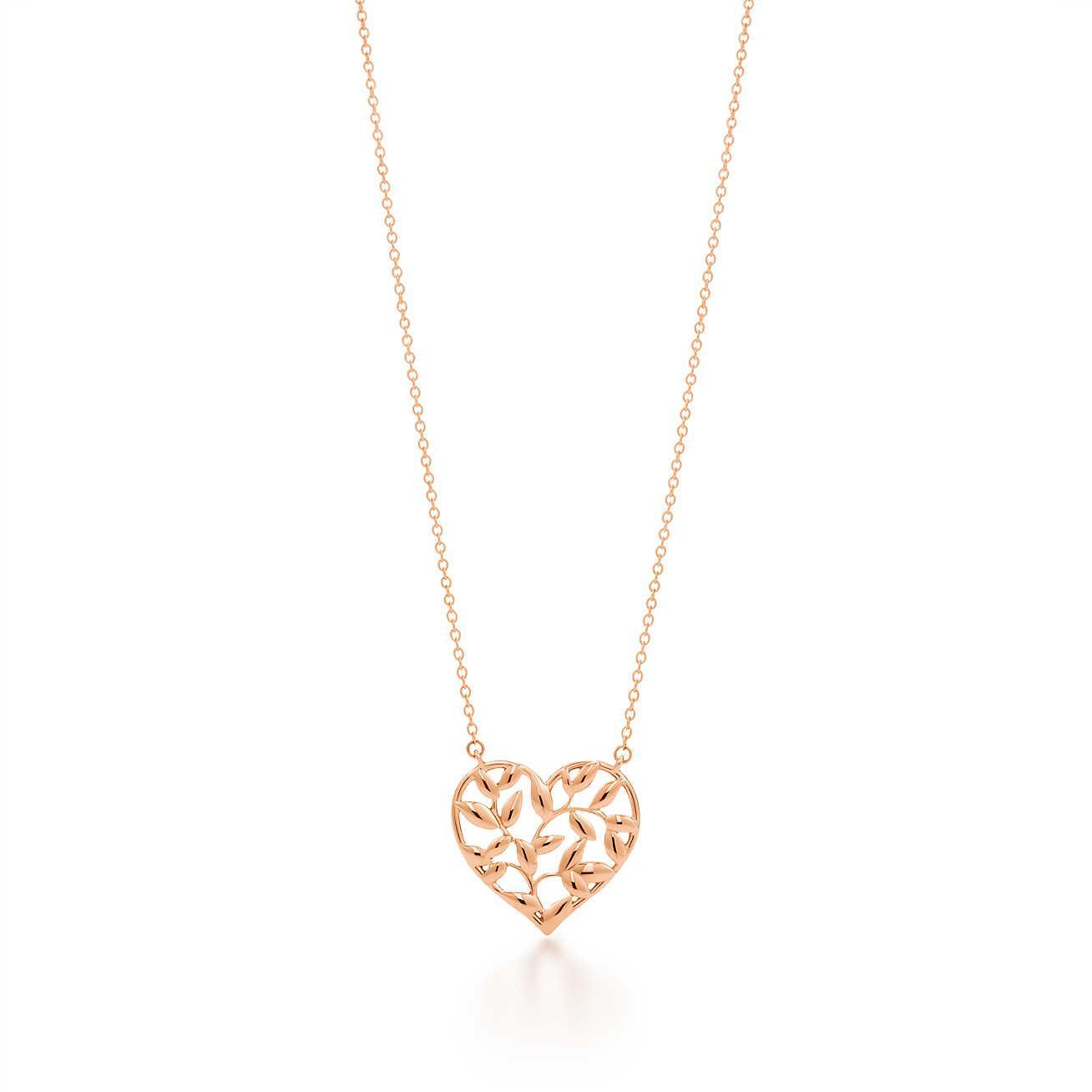 83e120124 Tiffany & Co. Paloma Picasso. Olive Leaf Heart Pendant In 18k Rose ...