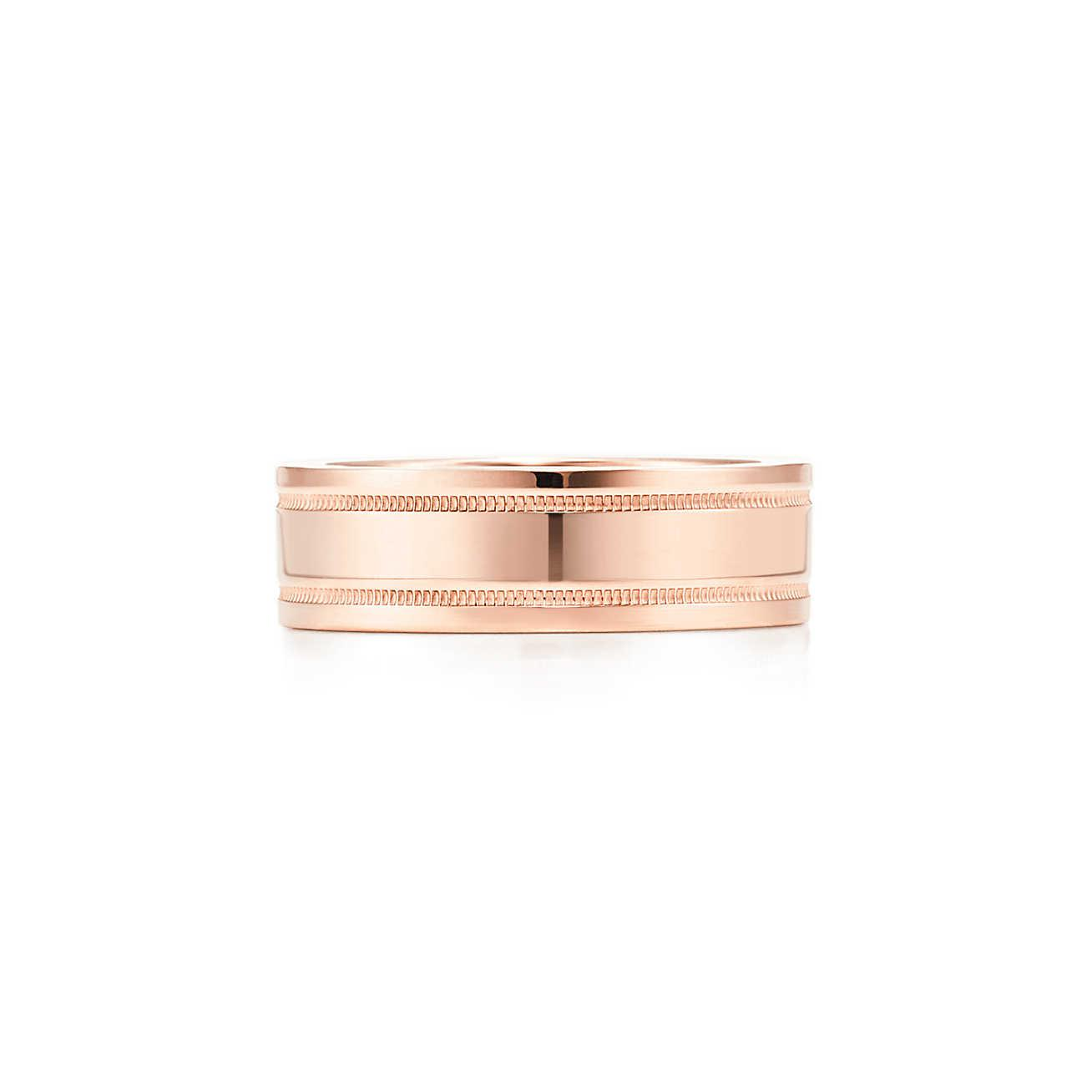 Tiffany Classic wedding band ring in 18k rose gold, 6 mm wide - Size 10 1/2 Tiffany & Co.