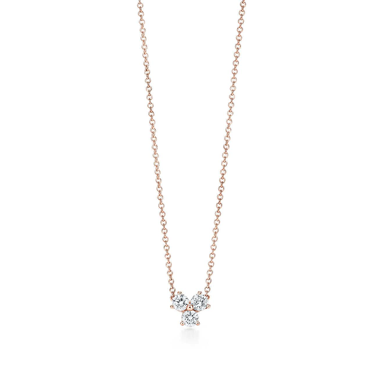Tiffany solitaire diamond pendant in 18k rose gold - Size.17 Tiffany & Co.