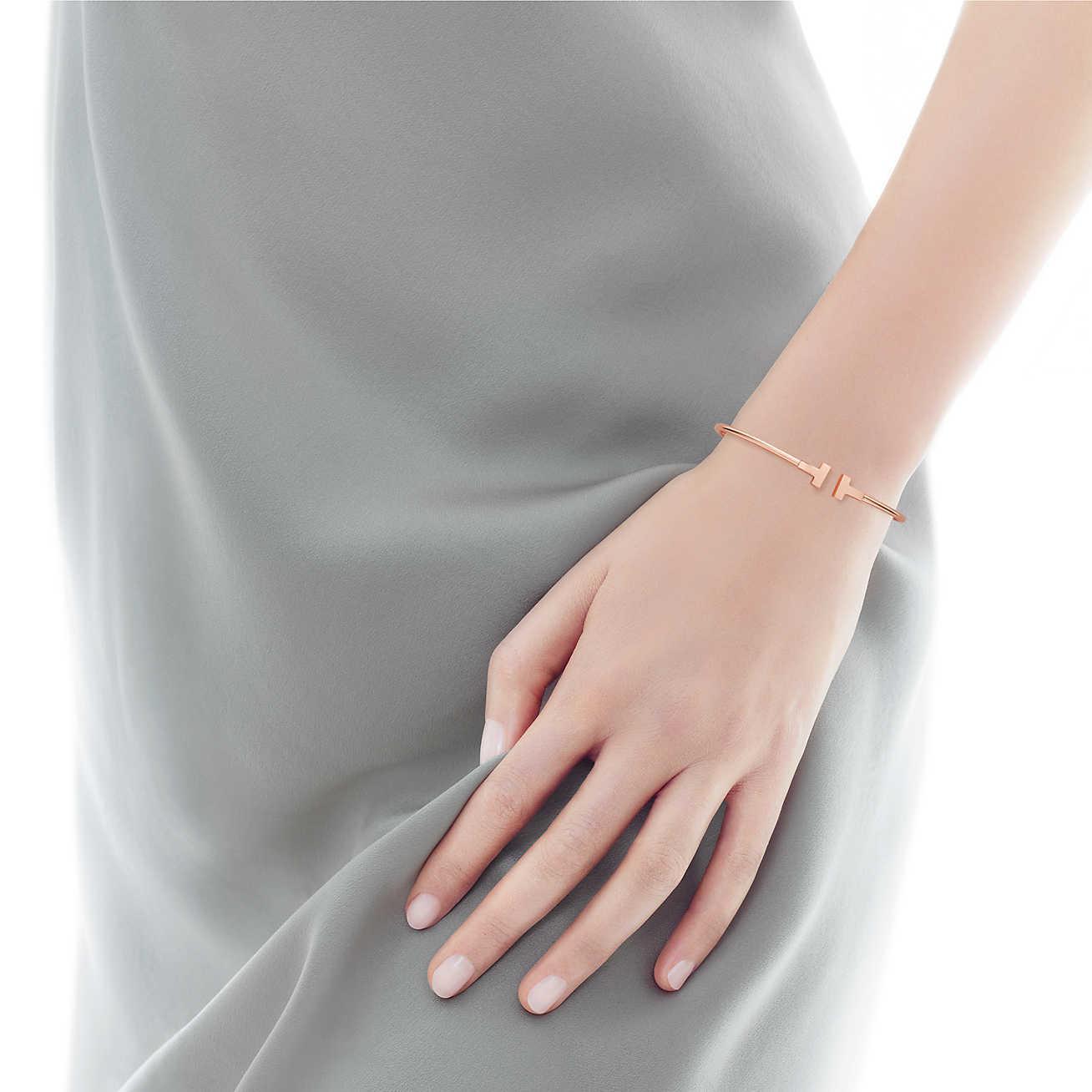 274df9de1 Tiffany & Co. Tiffany T Narrow Wire Bracelet In 18k Rose Gold, Small ...
