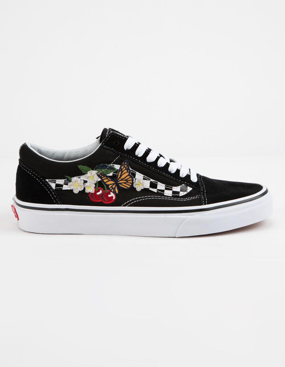 460f3e169094ed Lyst - Vans Checker Floral Old Skool Womens Shoes in Black