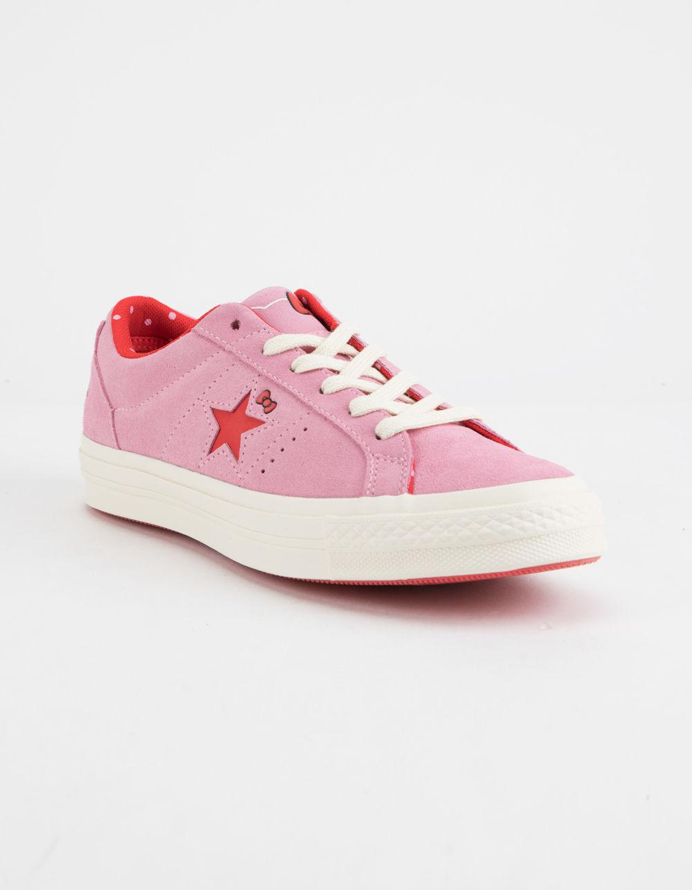 6dbfb378a4beb8 Lyst - Converse X Hello Kitty One Star Prism Pink   Firey Red Womens Shoes  in Pink - Save 38%