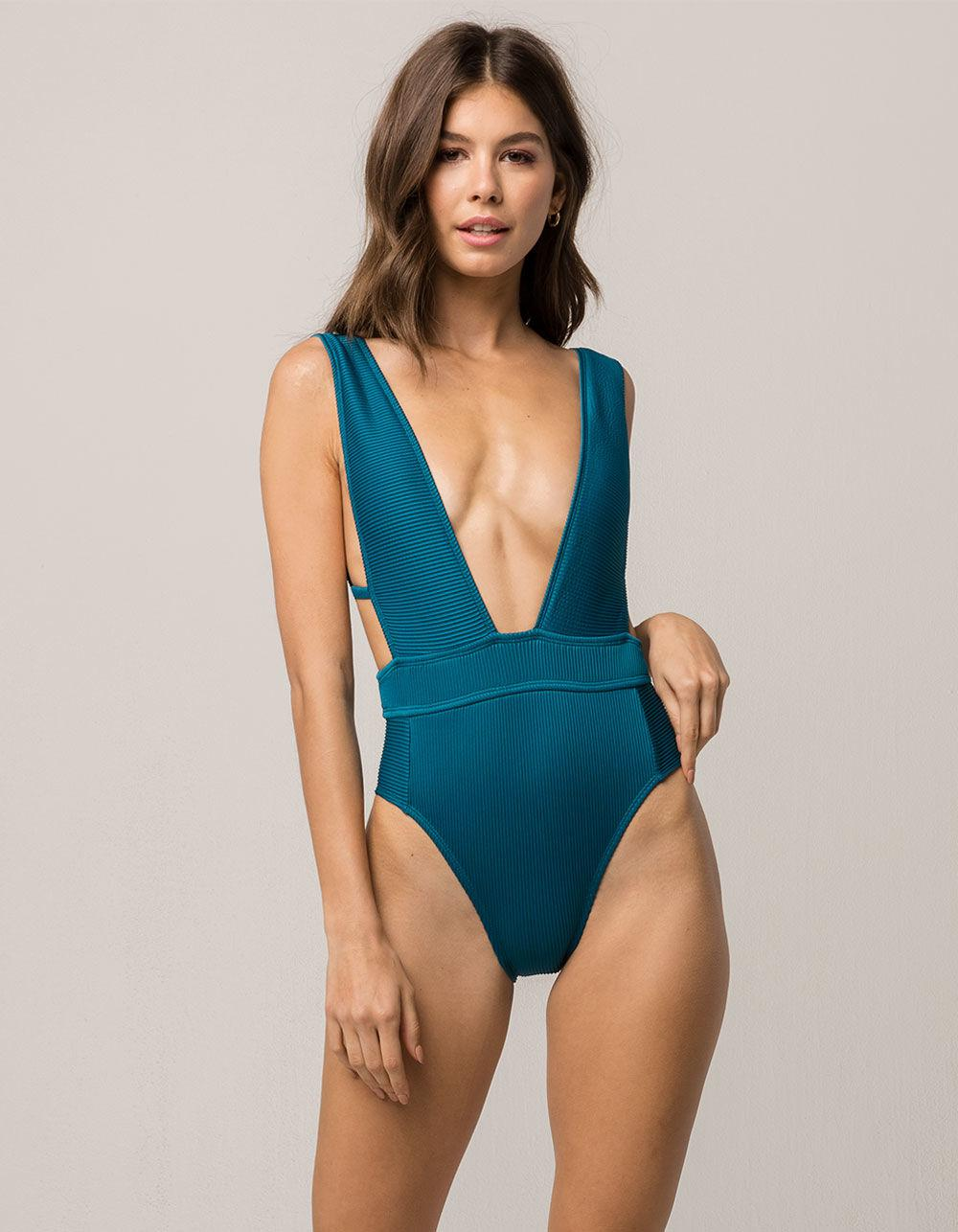 c88eb6423 Bikini Lab Ribbed One Piece Swimsuit in Blue - Lyst