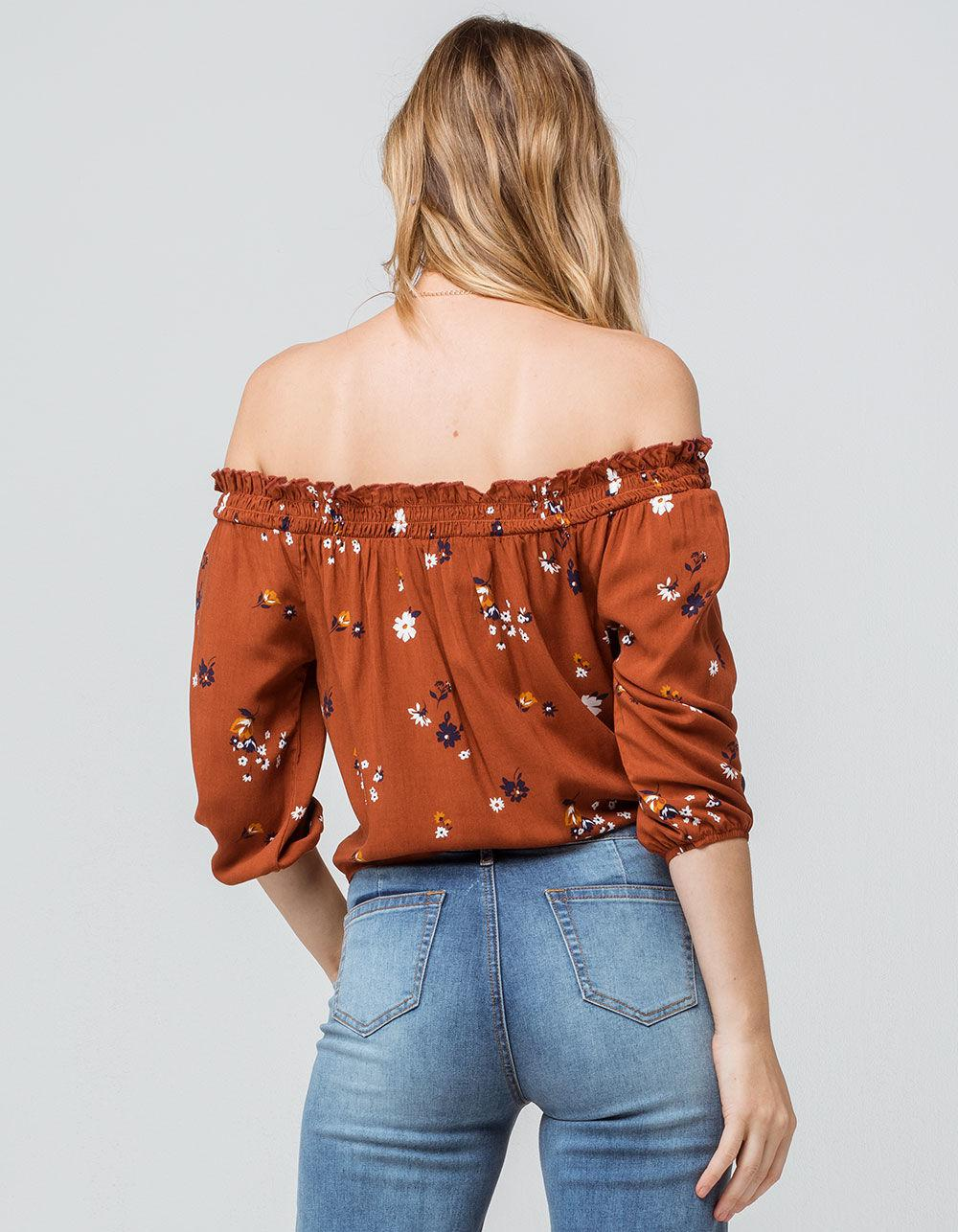 92c8964052777 Mimi Chica - Multicolor Floral Tie Front Rust Womens Off The Shoulder Top -  Lyst. View fullscreen