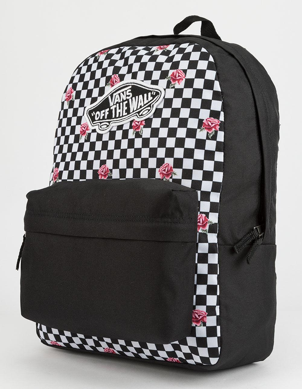 3bcce8b231b Vans - Black Realm Rose Checkerboard Backpack - Lyst. View fullscreen