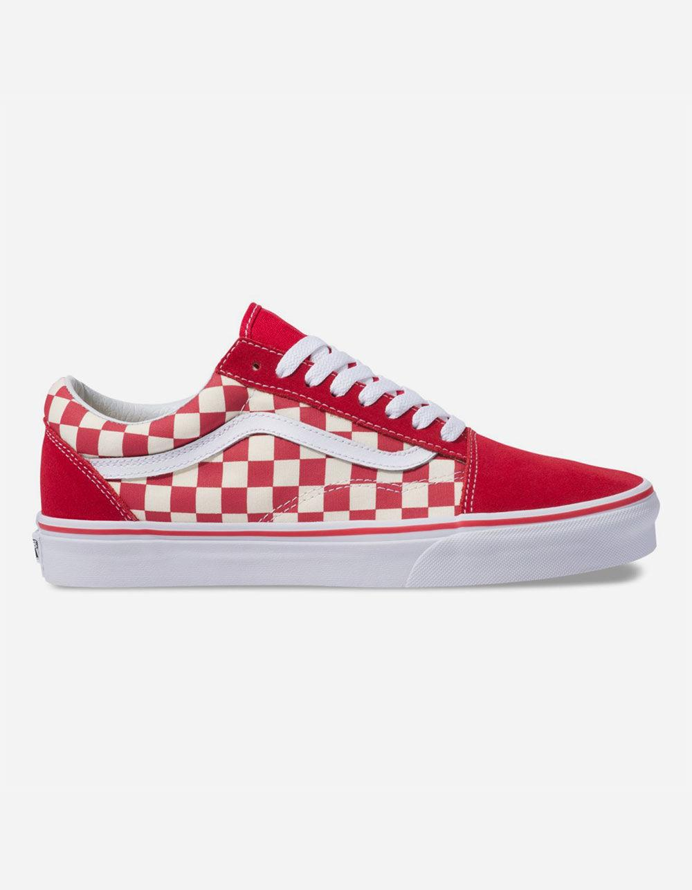 Lyst - Vans Primary Check Old Skool Racing Red   White Shoes in Red ... 8ea656eb15
