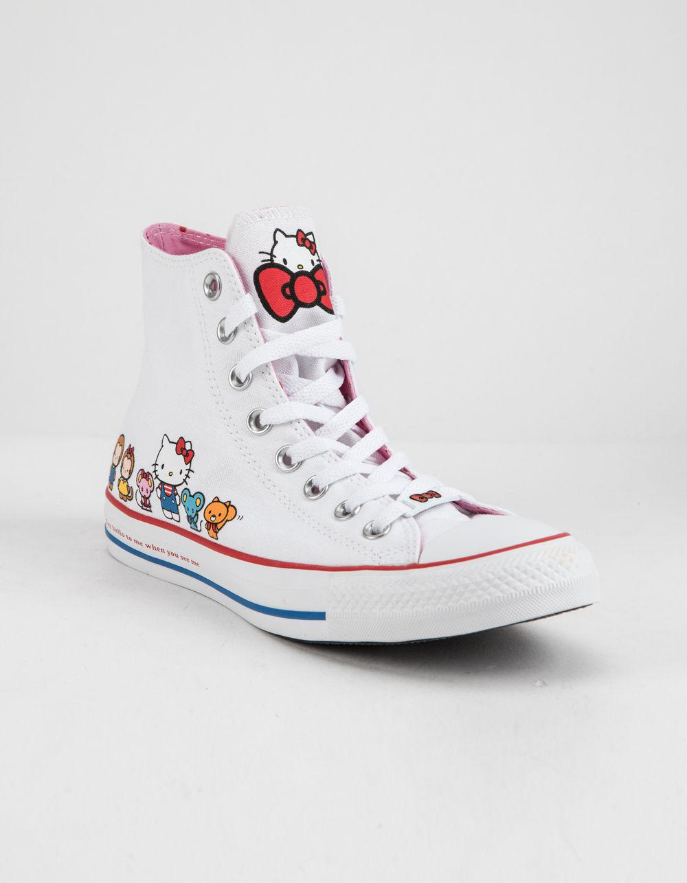9c852b809b5a49 Lyst - Converse X Hello Kitty Chuck Taylor All Star White   Prism Pink High  Top Womens Shoes in White - Save 39%