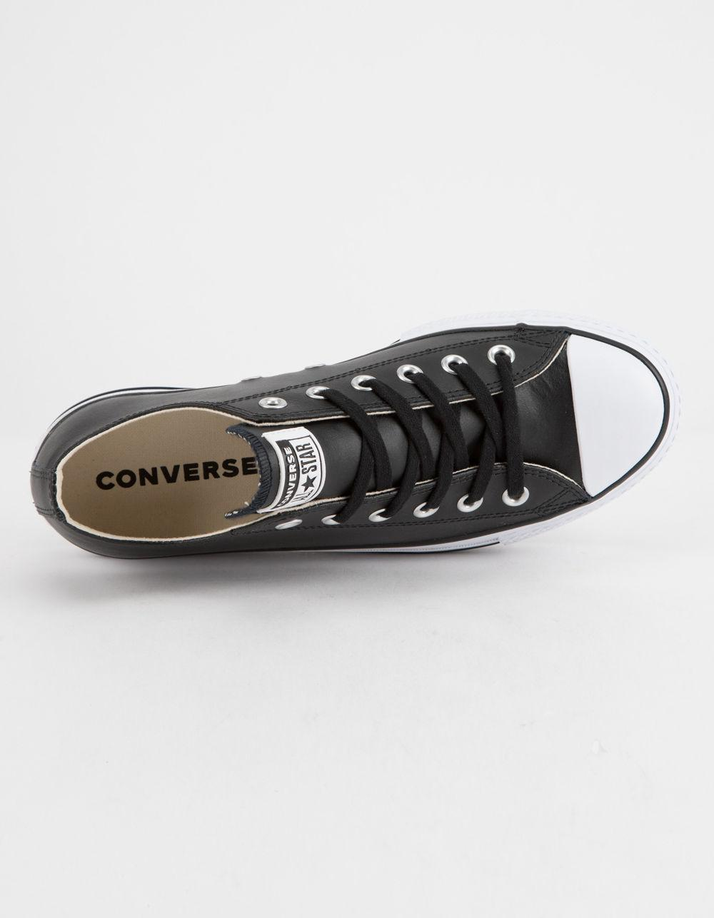Converse Chuck Taylor All Star Lift Faux Leather Womens Low Top Shoes Black Converse Sneakers from Lyst | myweddingShop