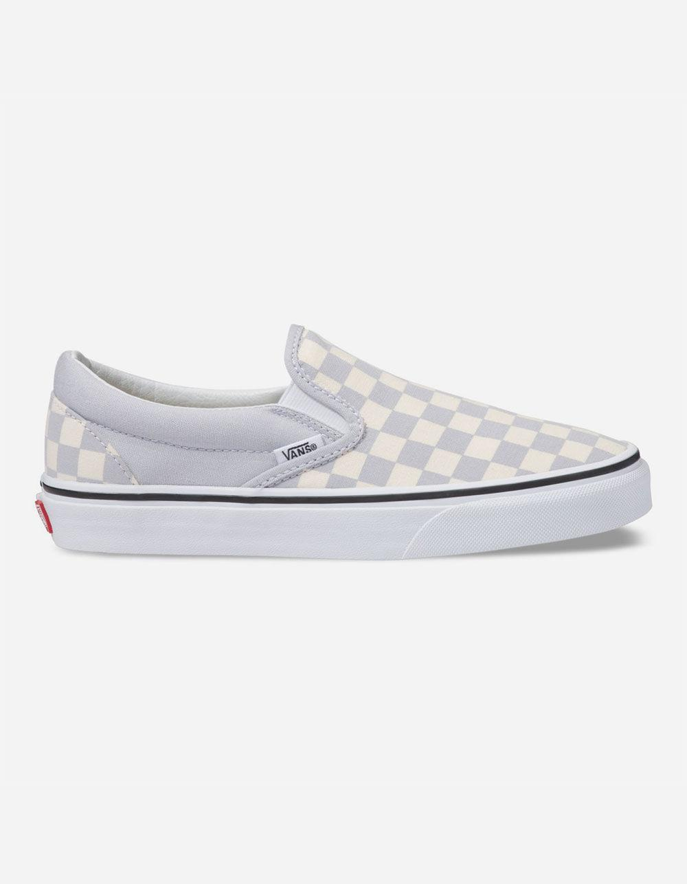 1c766463f7386a Lyst - Vans Checkerboard Gray Dawn   True White Womens Slip-on Shoes ...