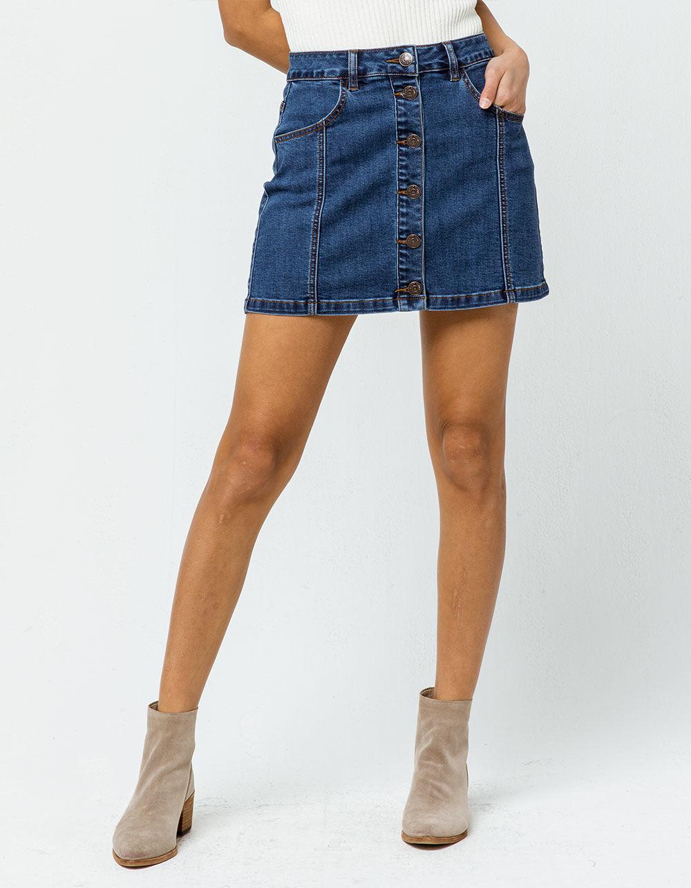 fbfd759ad Dark Wash Button Down Denim Skirt - raveitsafe