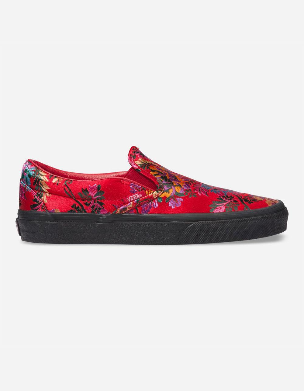 737c73edef Lyst - Vans Festival Satin Classic Slip-on Shoes in Red
