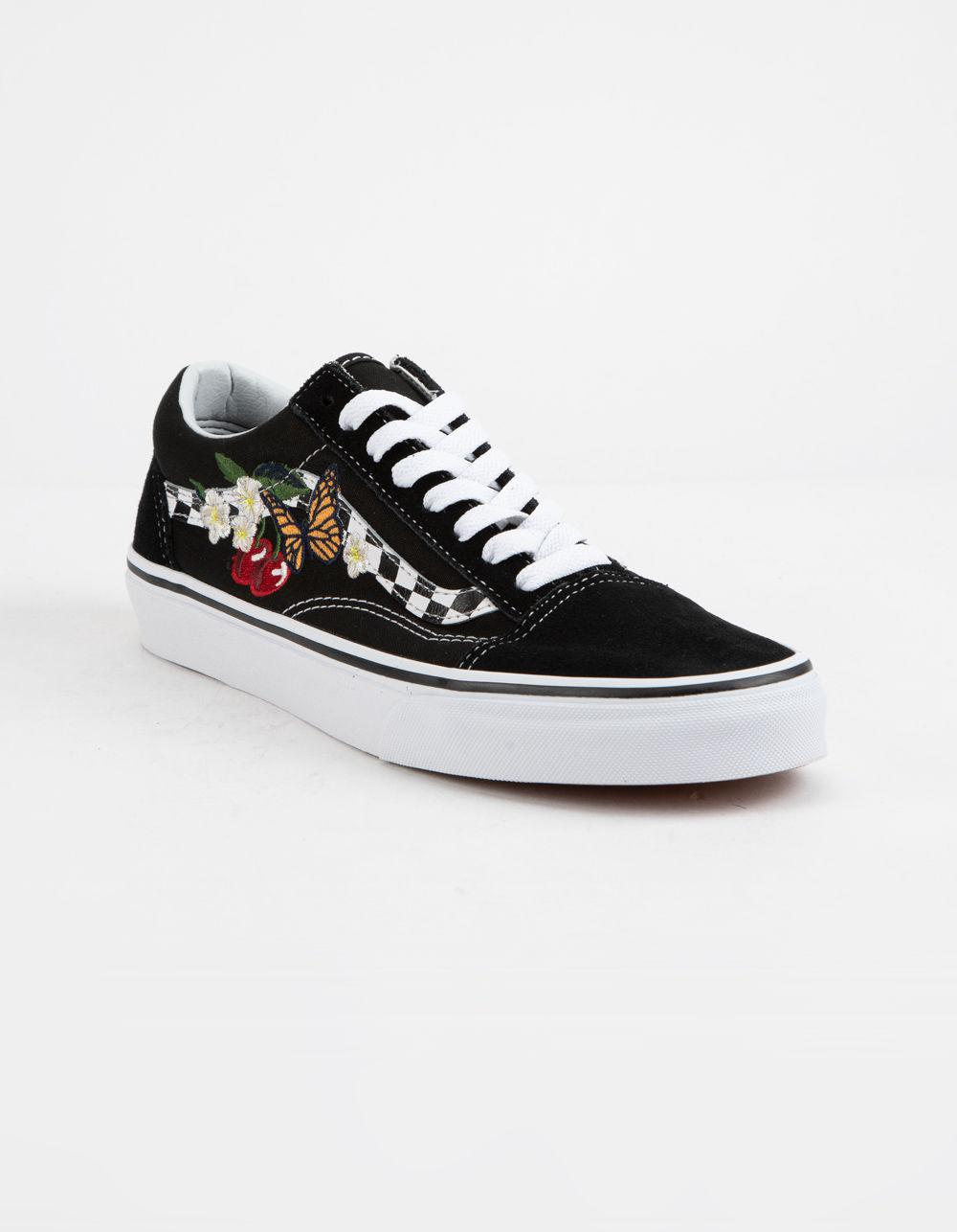 Lyst - Vans Checker Floral Old Skool Womens Shoes in Black c93b67a99e