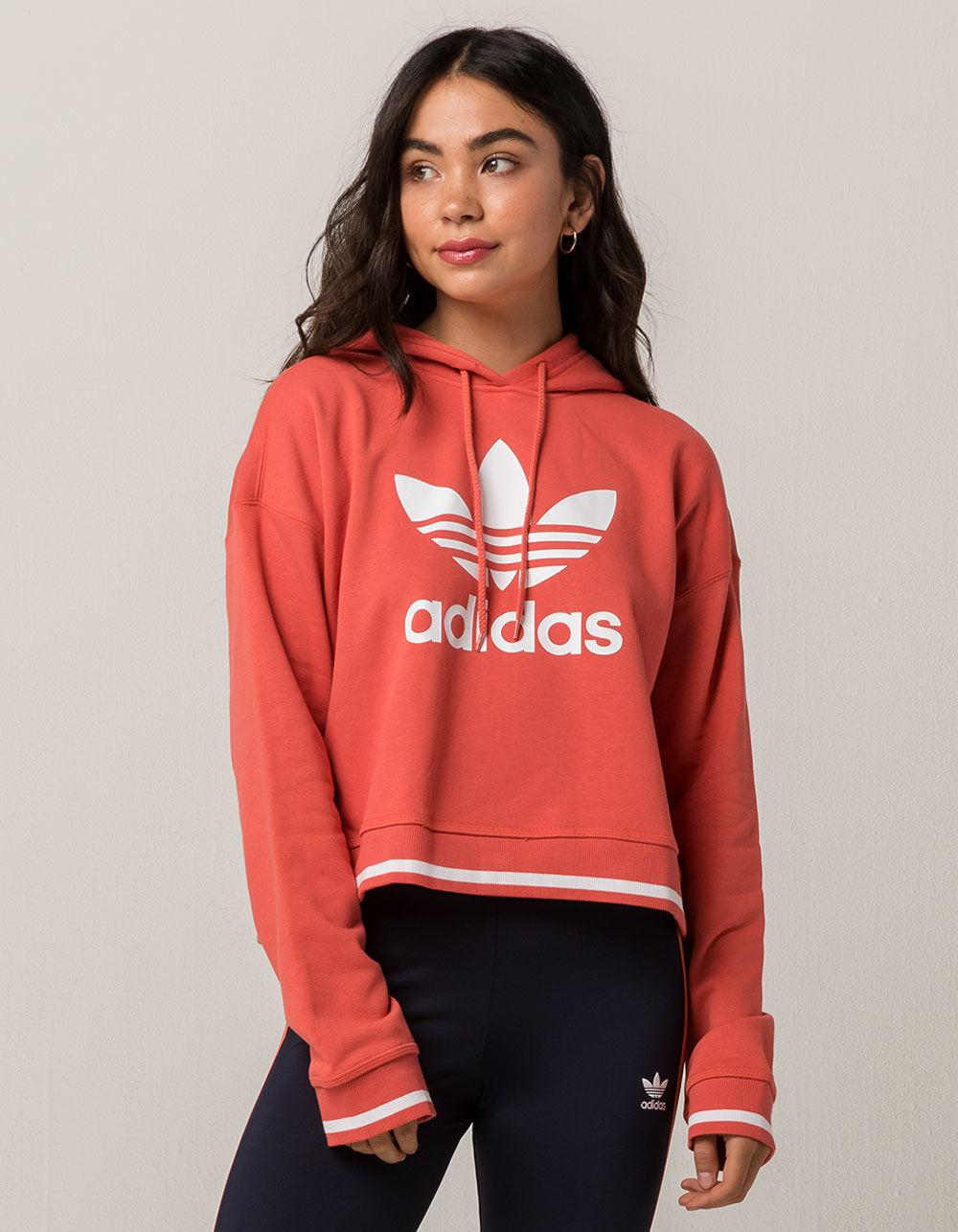 for whole family uk store authentic Active Icons Coral Womens Crop Hoodie