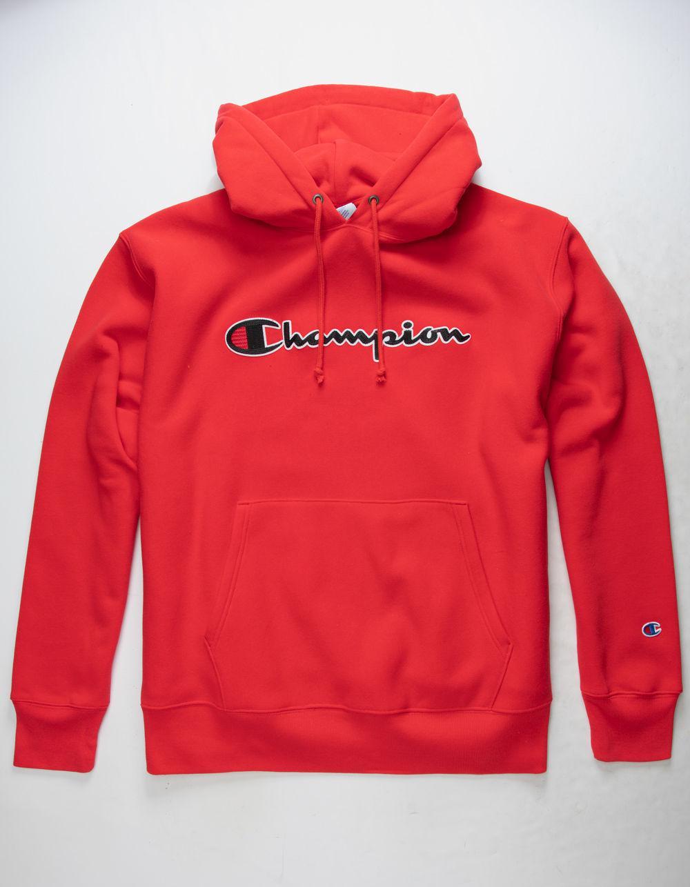 0ab5ff976a7d Champion. Reverse Weave Chain Stitch Script Logo Team Red Scarlet Mens  Hoodie