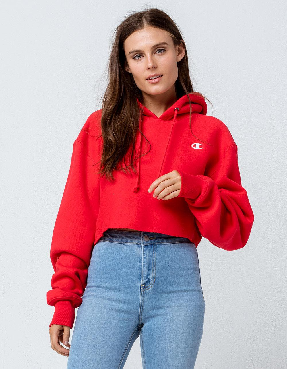 8b23a7d021c52 Lyst - Champion Reverse Weave Red Womens Crop Hoodie in Red