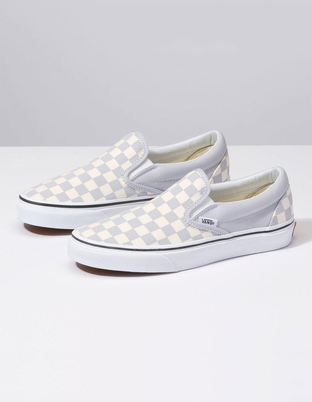 01665a6c549a59 Lyst - Vans Checkerboard Gray Dawn   True White Womens Slip-on Shoes ...
