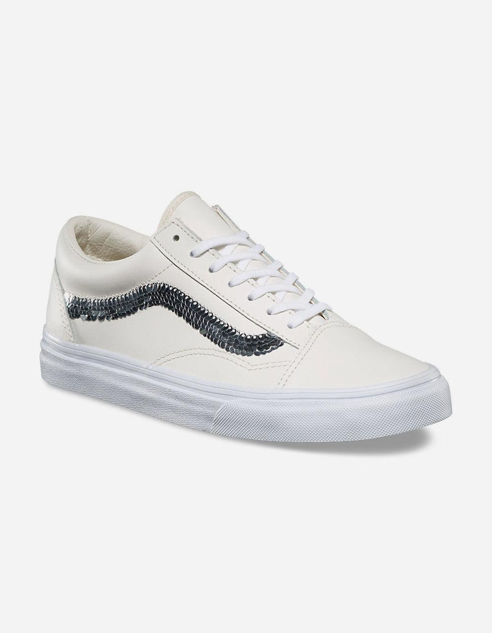 cebfb26fea1 Vans White Shiny Sequins Old Skool Womens Shoes