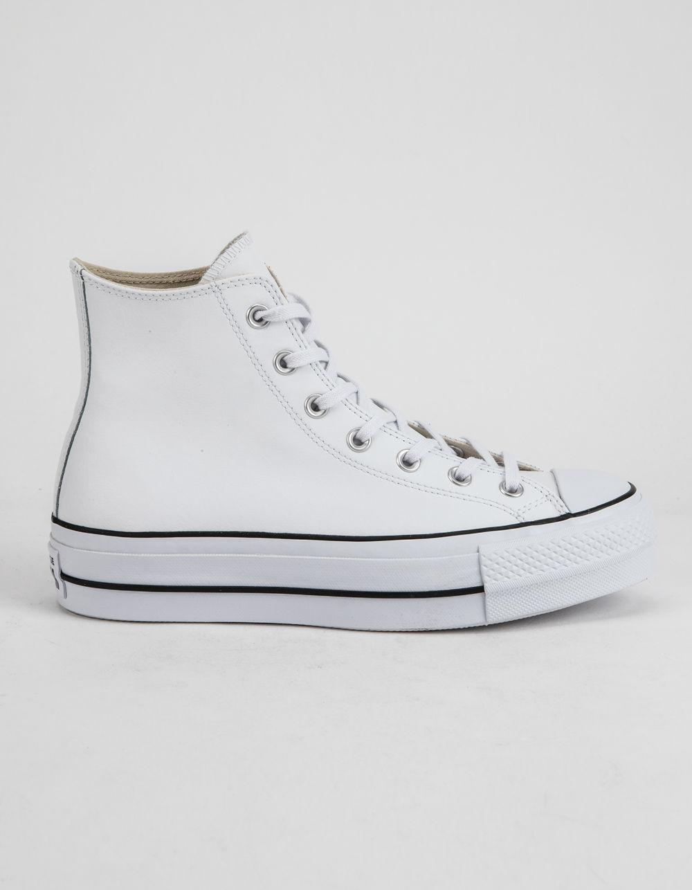 ad3f56ca48ce88 Lyst - Converse Chuck Taylor All Star Lift Faux Leather White Womens ...