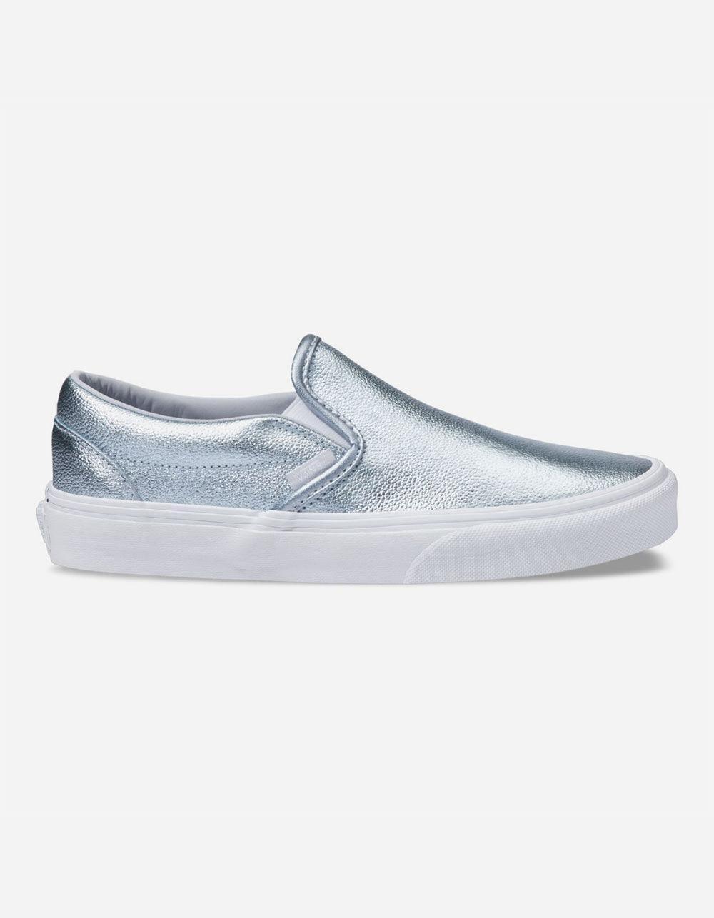6ba93f9dceba79 Lyst - Vans Gray Dawn Womens Metallic Slip-on Shoes