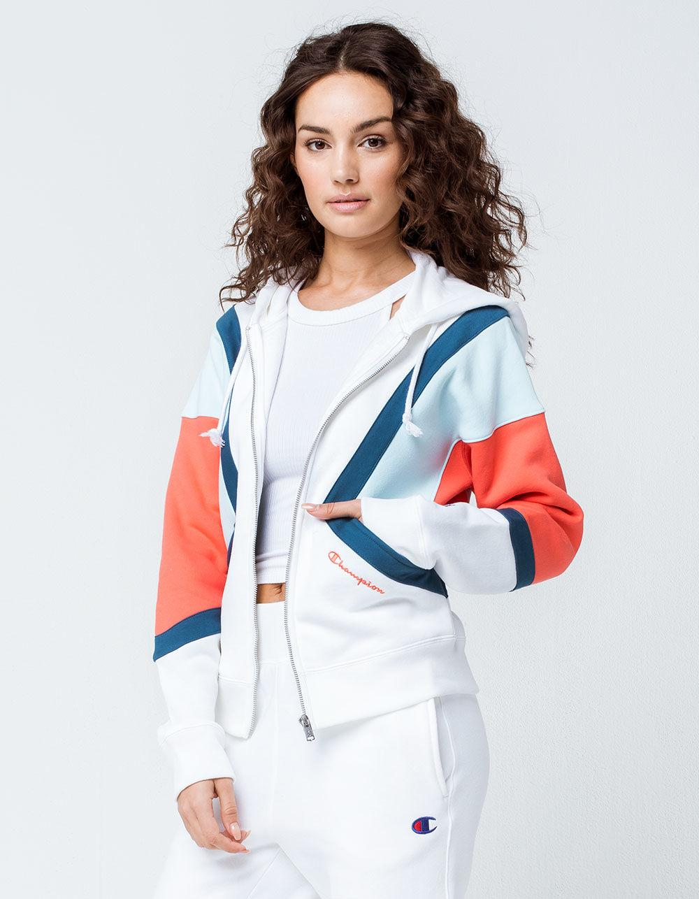 219e1c9b49f Champion Color Block Womens Zip Hoodie in White - Lyst