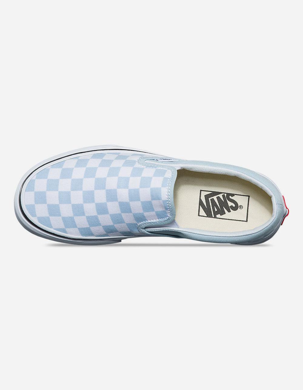 Checkerboard Baby Blue Womens Slip-on