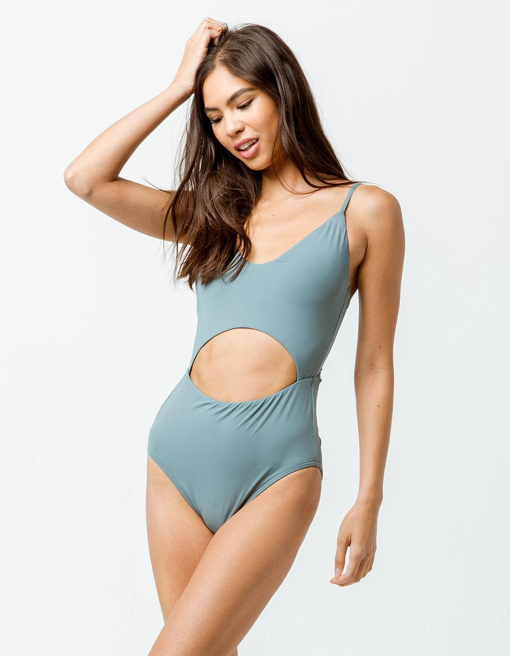 c0fc9b8c28 O neill Sportswear. Women s Blue Salt Water Solids Tank Eucalyptus One  Piece Swimsuit