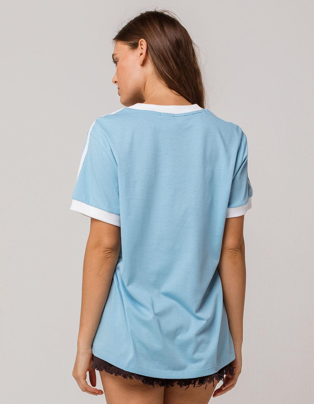 Originals Three Stripes Baby Blue Womens Ringer Tee