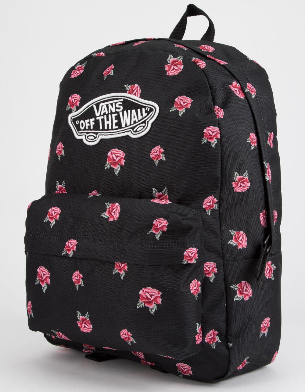 8b5b85206be1 Lyst - Vans Realm Black   Rose Backpack in Black