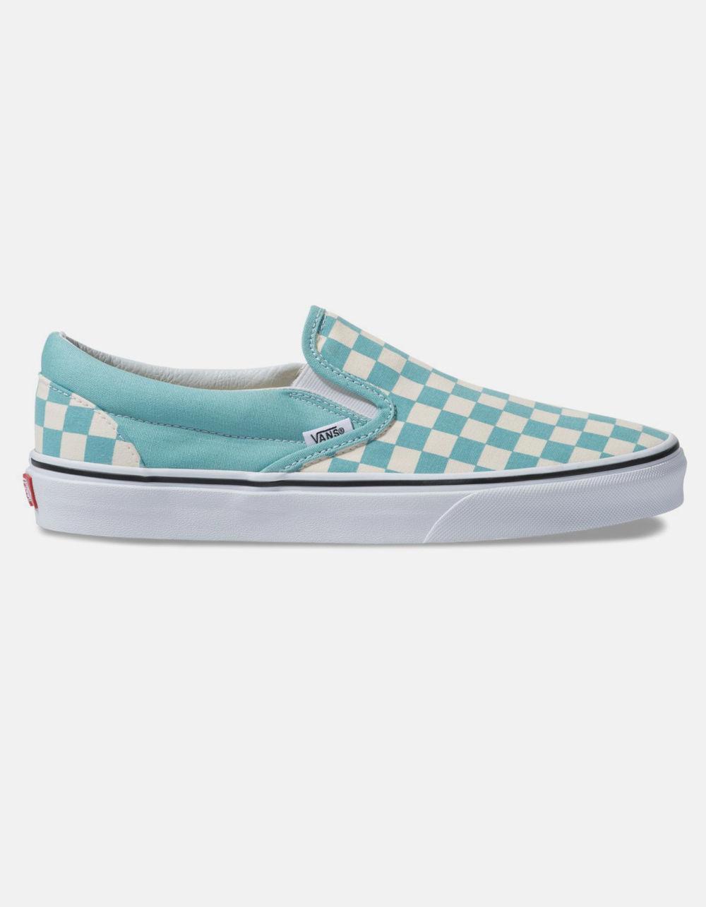 2f16910990a Vans Checkerboard Classic Slip-on Aqua Haze & True White Shoes - Lyst