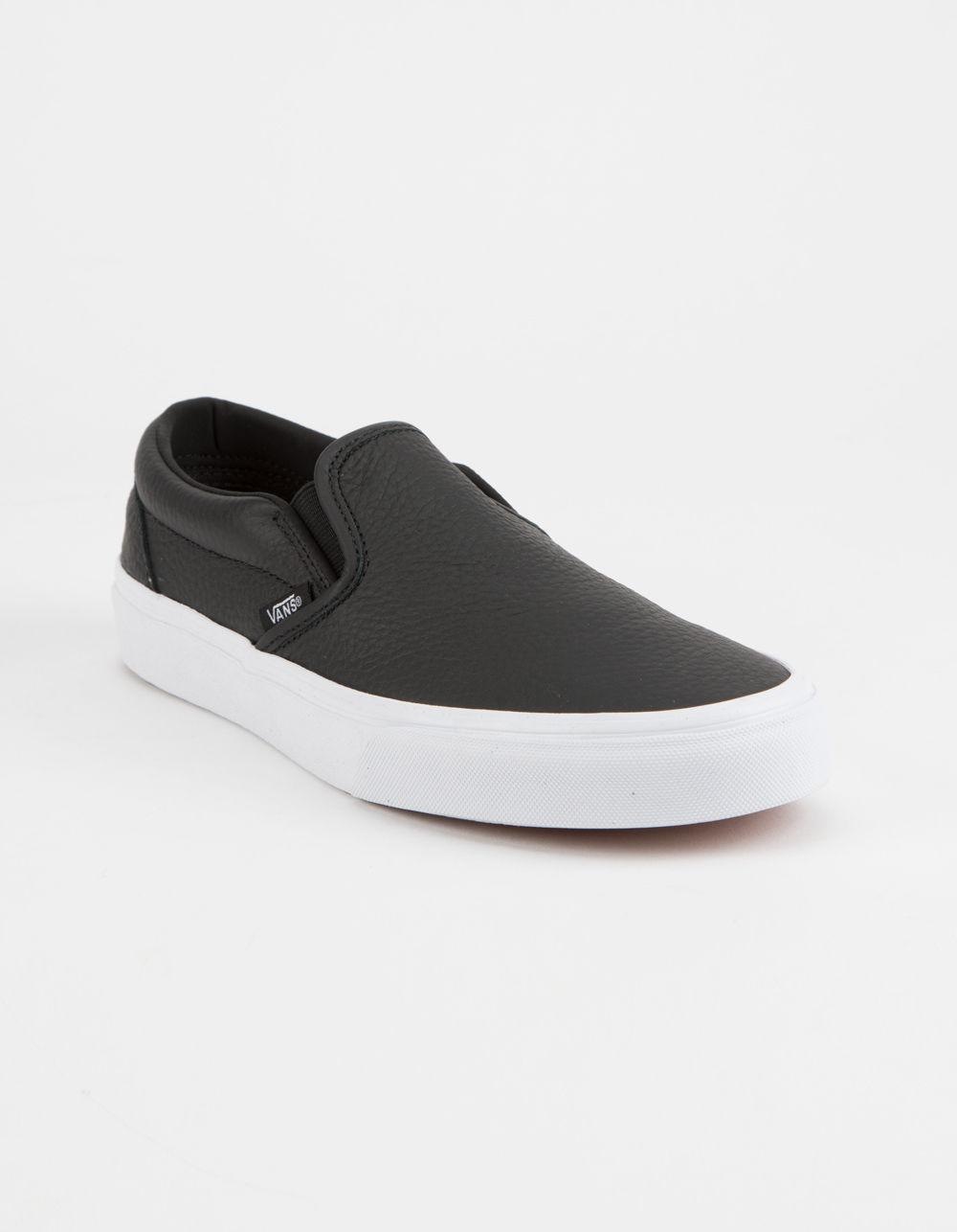 957bcac8de7 Tumble Leather Black & True White Classic Slip-on Womens Shoes