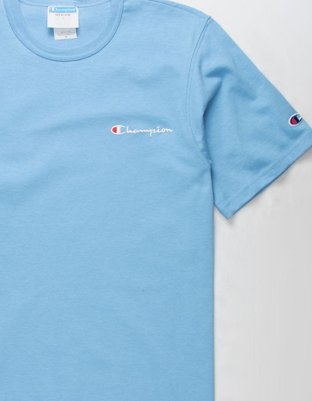 81b5b1569295 Champion Embroidered Script Logo Light Blue Mens T-shirt in Blue for ...