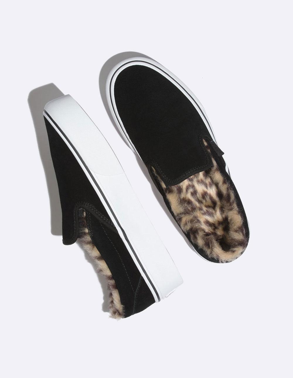 Vans Suede Slip-on Platform Fur Black Womens Shoes