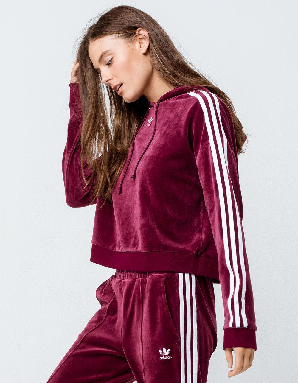 adidas Velvet Cropped Hoodie Sweatshirt