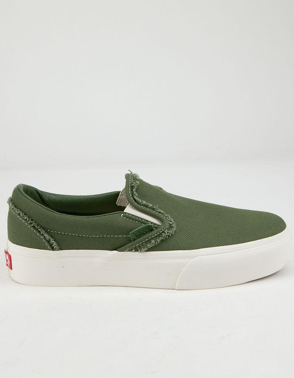 76937505b78 Lyst - Vans Raw Twill Slip-on Platform Garden Green Womens Shoes in ...