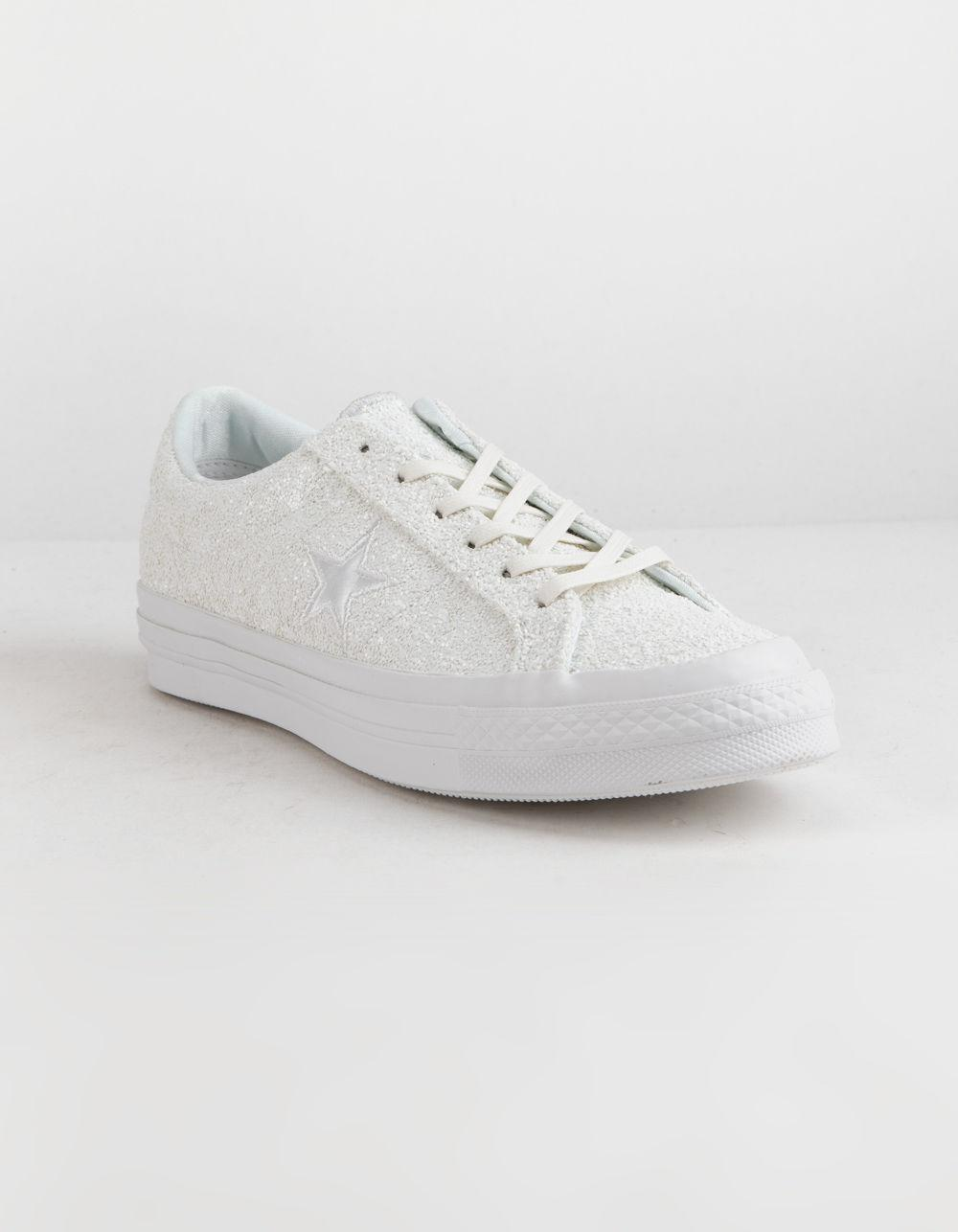 769121bb329f Lyst - Converse One Star Ox Glitter White Womens Shoes in White