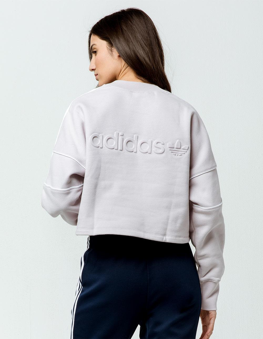 4798e15a91 Adidas Multicolor Embossed Logo Womens Crop Sweatshirt