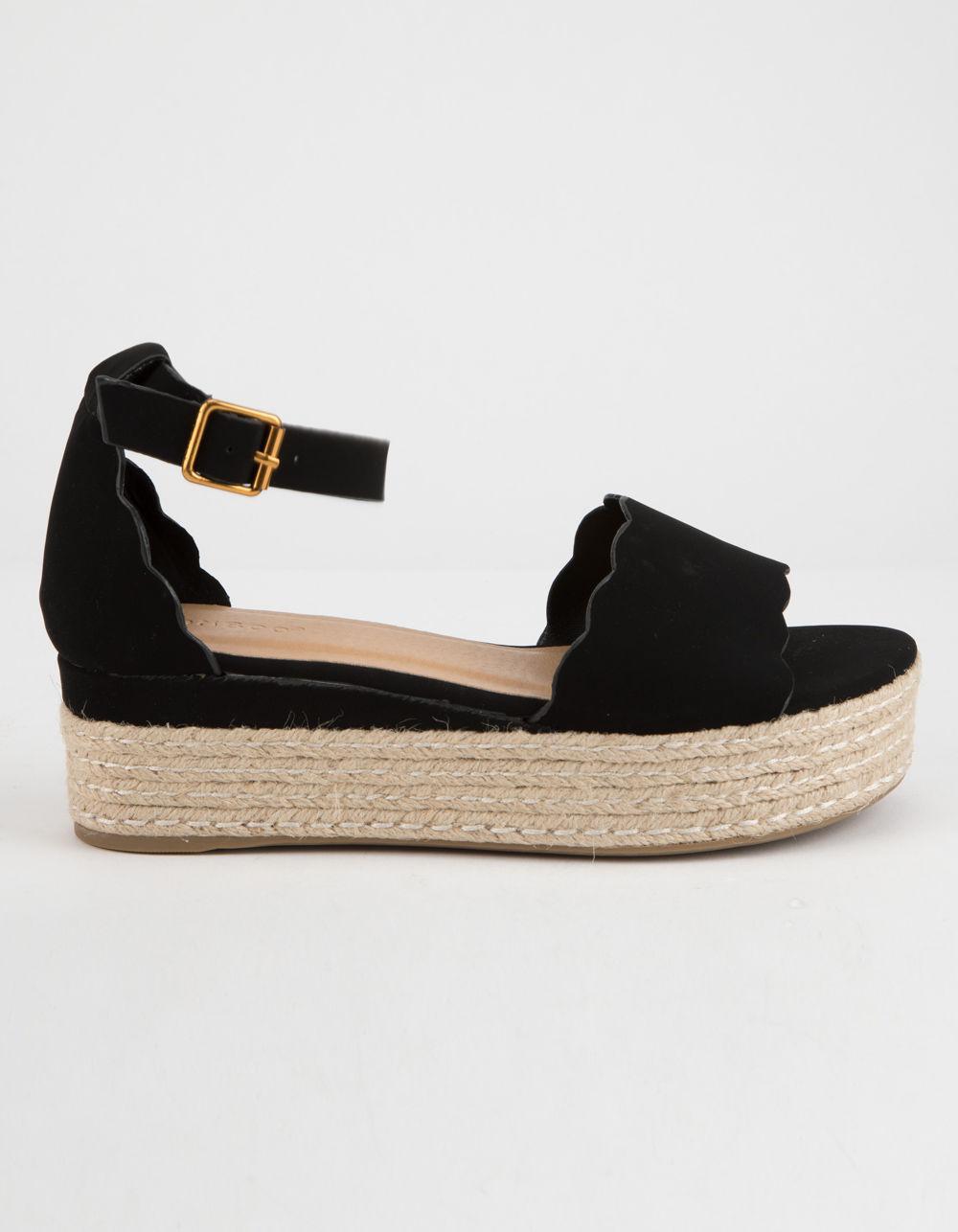 a9d5778cf Bamboo - Black Scallop Espadrille Womens Platform Sandals - Lyst. View  fullscreen