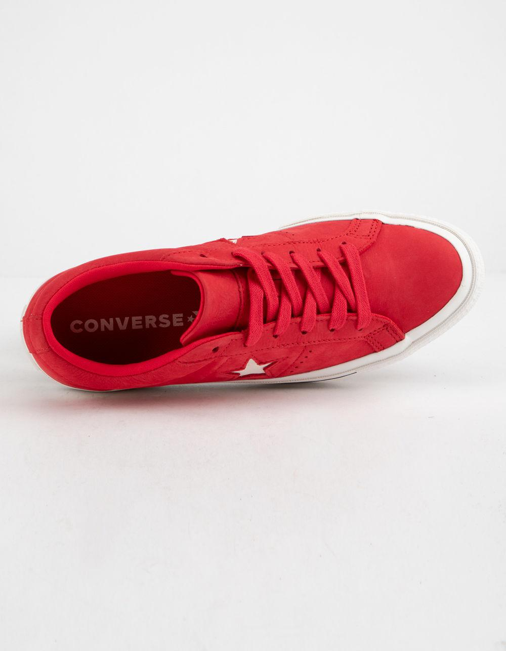 5ade17a7d0ed3e Lyst - Converse One Star Ox Cherry Red   Vintage White Womens Low ...